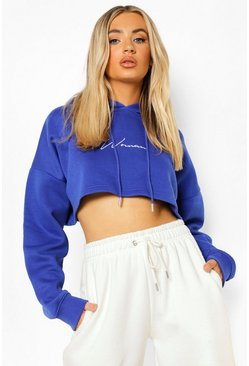 Cobalt blue Cropped Woman Embroidered Hoodie