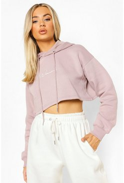 Dusty rose pink Cropped Woman Embroidered Hoodie
