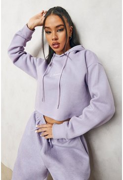 Lilac purple Cropped Woman Embroidered Hoodie