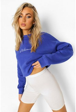 Cobalt blue Cropped Woman Embroidered Sweatshirt