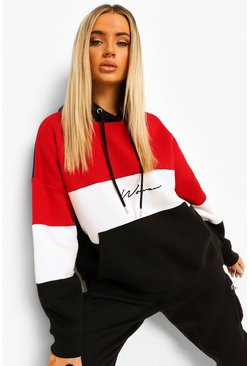 Black Woman Colour Block Signature Hoodie