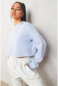 Light blue blue Blue Cropped Woman Embroidered Sweatshirt