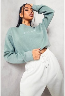 Sage green Green Cropped Woman Embroidered Sweatshirt