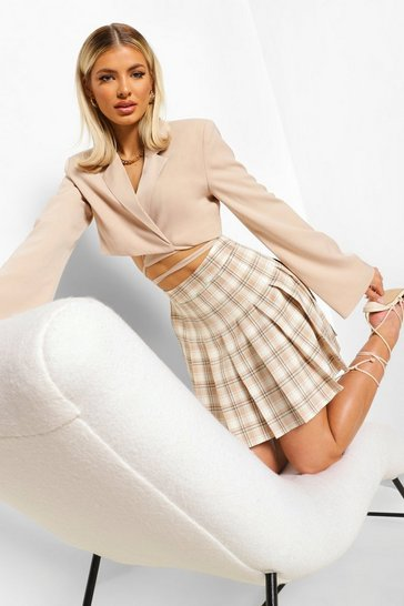 Stone beige Woven Pleated Check Mini Skirt