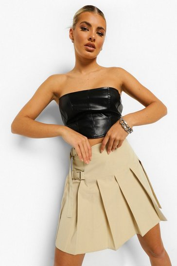 Light stone Woven Side Buckle Tennis Skirt
