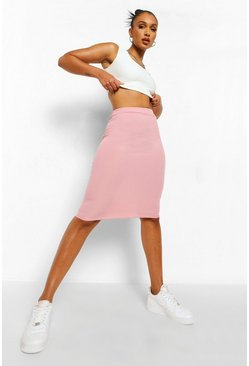 Dusty rose pink Ribbed Bodycon Midi Skirt