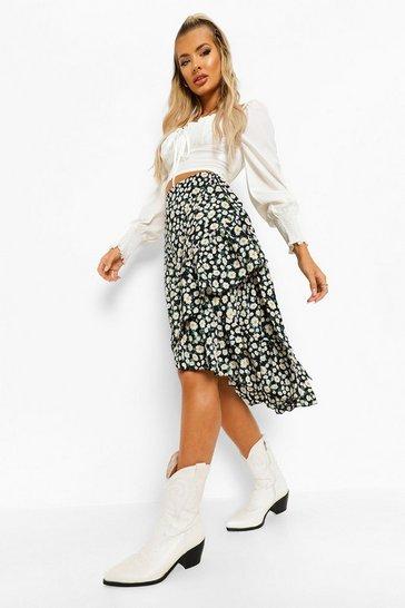 Black Daisy Floral Woven Frill Wrap Midi Skirt