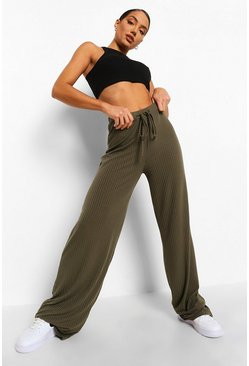 Light stone Soft Rib Slouchy Wide Leg Trousers