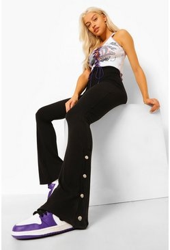 Black Ribbed Popper Split Hem Flares