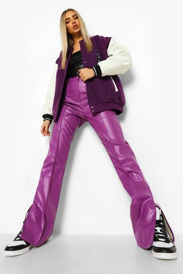Purple Leather Look Split Hem Trouser