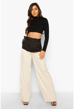 Black Colour Block Belted Woven Trouser
