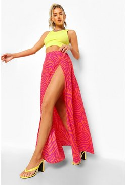 Hot pink pink Animal Print Split Hem Maxi Skirt