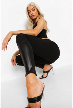 Black Panel Leather Look Pu Leggings