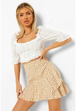 Ivory white Ditsy Floral Frill Wrap Mini Skirt