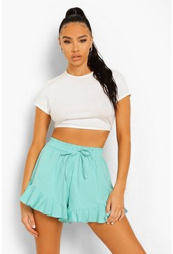 Aqua blue Cotton Frill Full Hem Flippy Shorts