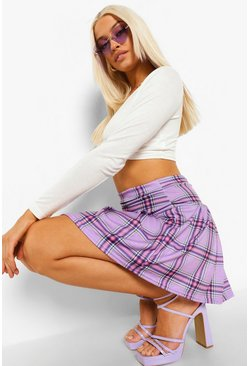 Lilac purple Check Jersey Pleated Tennis Skirt