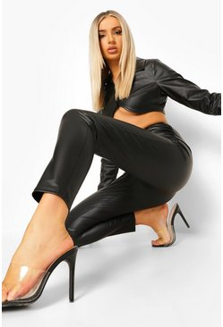Black Twist Front Leather Look Pu Leggings