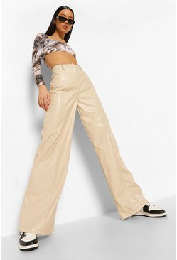 Ecru white Pocket Detail Faux Leather Pants