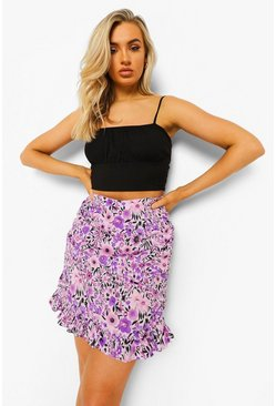 Lilac purple Ditsy Floral Ruched Ruffle Mini Skirt