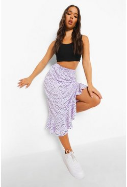 Lilac purple Polka Dot Ruffle Hem Midi Skirt
