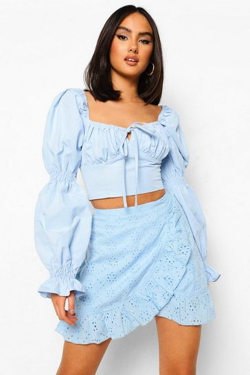 Dusty blue blue Broderie Anglaise Lined Frill Wrap Mini Skirt