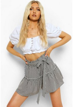 Black Gingham Check Ruffle Belted Flippy Shorts