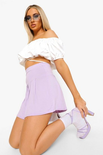 Lilac purple Basic Jersey Pleated Tennis Skirt