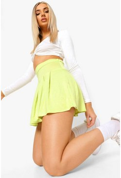 Gonna a pieghe in stile tennis basic in jersey, Lime gerde