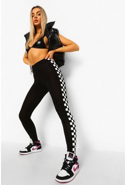 Black Moto Check Contrast Panel Leggings