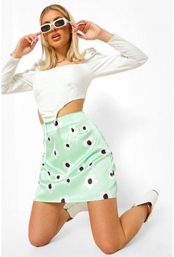 Sage green Daisy Floral Satin Mini Skirt
