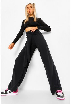 Black Soft Ribbed Wrap Belted Wide Leg Trousers