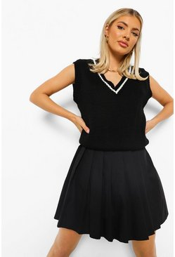 Black Woven Pleated Mini Tennis Skirt
