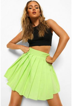 Lime green Woven Pleated Mini Tennis Skirt