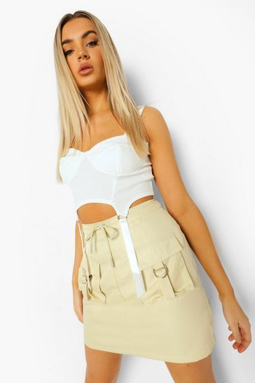 Stone beige Utility Pocket Cargo Mini Skirt