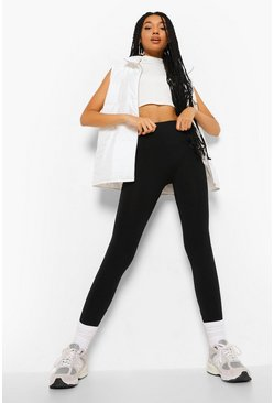 Black Pu Trim Detail Basic Leggings