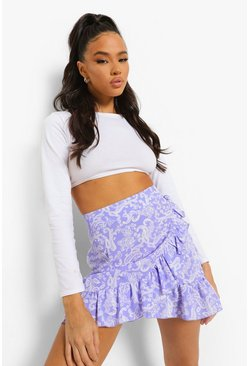 Cornflower blue blue Paisley Print Frill Wrap Mini Skirt
