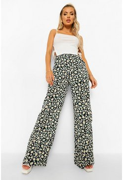 Black Daisy Floral Woven Wide Leg Trousers