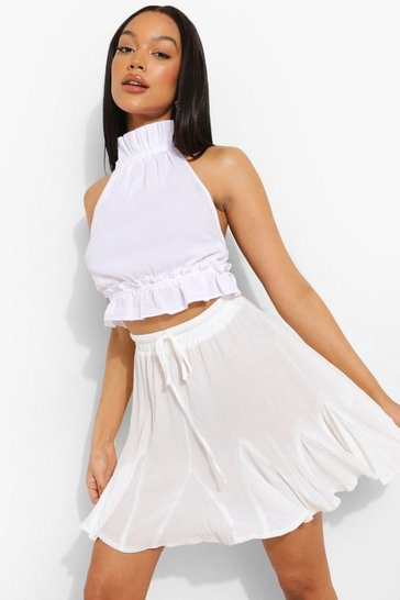 White Woven Pleated Hem Skater Skirt
