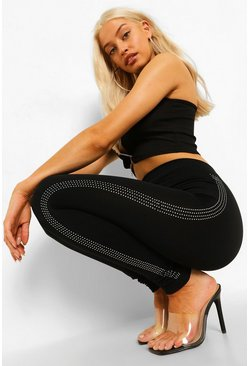 Black Diamante Trim Supersoft Leggings