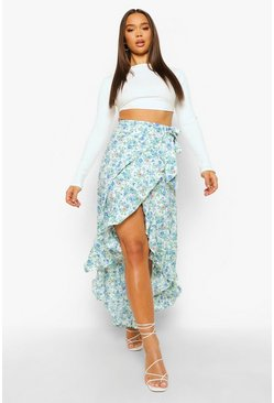 Ivory white Ditsy Floral Woven Frill Maxi Skirt