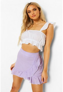 Lilac purple Gingham Check Ruffle Wrap Frill Mini Skirt