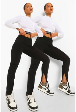 Black 2 Pack Split Hem Leggings