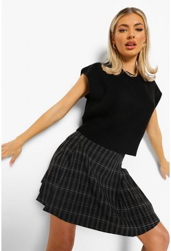 Black Check Woven Pleated Tennis Skirt