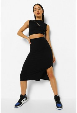 Black Soft Ribbed Split Hem Midaxi Skirt