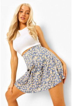 Dusty blue blue Woven Ditsy Print Tennis Skirt