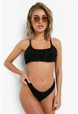 Black Embossed Towel Mix & Match Scoop Bikini Top
