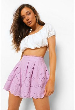 Lilac purple Broderie Anglaise Lined Scallop Flippy Shorts