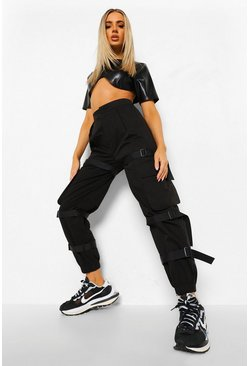 Black Strap Detail Cargo Trouser