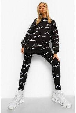 Black Woman Script Sweatshirt And Legging Tracksuit