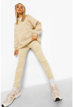 Stone beige Woman Script Sweatshirt And Legging Tracksuit